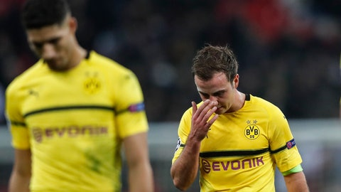 <p>               Dortmund midfielder Mario Gotze, right, reacts after losing the Champions League round of 16, first leg, soccer match between Tottenham Hotspur and Borussia Dortmund at Wembley stadium in London, England, Wednesday, Feb. 13, 2019. (AP Photo/Frank Augstein)             </p>