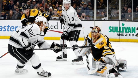 <p>               Boston Bruins goaltender Tuukka Rask takes a shot off his mask by Los Angeles Kings' Carl Hagelin (62) off his mask during the this period of an NHL hockey game Saturday, Feb. 9, 2019, in Boston. (AP Photo/Winslow Townson)             </p>