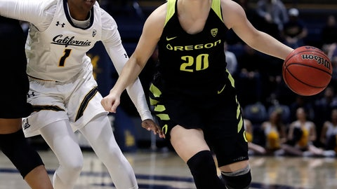 <p>               Oregon's Sabrina Ionescu, right, drives past California's Asha Thomas during the first half of an NCAA college basketball game Friday, Feb. 8, 2019, in Berkeley, Calif. (AP Photo/Ben Margot)             </p>