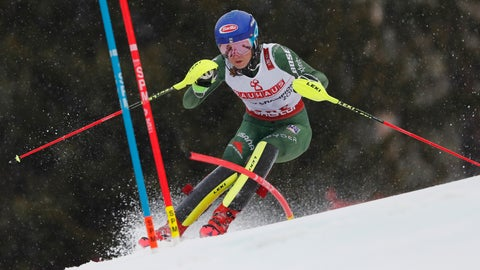 <p>               United States' Mikaela Shiffrin speeds down the course during the women's slalom, at the alpine ski World Championships in Are, Sweden, Saturday, Feb. 16, 2019. (AP Photo/Gabriele Facciotti)             </p>
