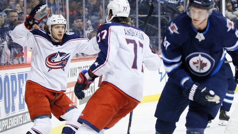 <p>               Columbus Blue Jackets' Josh Anderson (77) and Artemi Panarin (9) celebrate Anderson's goal as Winnipeg Jets' Tyler Myers (57) skates by during the first period of an NHL hockey game Thursday, Jan. 31, 2019, in Winnipeg, Manitoba. (John Woods/The Canadian Press via AP)             </p>