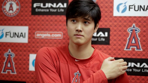 <p>               Los Angeles Angels' Shohei Ohtani talks to the media at their spring baseball training facility in Tempe, Ariz., Wednesday, Feb. 13, 2019. The AL Rookie of the Year is recovering from Tommy John surgery. (AP Photo/Chris Carlson)             </p>