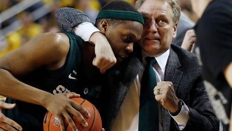 <p>               Michigan State head coach Tom Izzo holds guard Cassius Winston during the second half of an NCAA college basketball game against Michigan, Sunday, Feb. 24, 2019, in Ann Arbor, Mich. (AP Photo/Carlos Osorio)             </p>