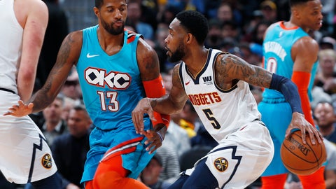 <p>               Denver Nuggets guard Will Barton, right, tries to drive past Oklahoma City Thunder forward Paul George during the first half of an NBA basketball game Tuesday, Feb. 26, 2019, in Denver. (AP Photo/David Zalubowski)             </p>