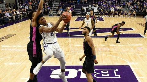<p>               Northwestern guard Anthony Gaines, center, goes to the basket as Penn State forward Lamar Stevens, left, defends him during the first half of an NCAA college basketball game Monday, Feb. 4, 2019, in Evanston, Ill. (AP Photo/David Banks)             </p>