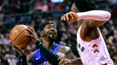<p>               Orlando Magic guard Terrence Ross (31) looks to keep the ball away from Toronto Raptors forward OG Anunoby (3) as he looks for the shot  during the second half NBA basketball game, Sunday, Feb. 24, 2019 in Toronto (Frank Gunn/The Canadian Press via AP)             </p>
