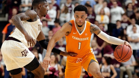 <p>               Tennessee guard Lamonte Turner (1) drives around Texas A&M guard Jay Jay Chandler, left, during the second half of an NCAA college basketball game Saturday, Feb. 2, 2019, in College Station, Texas. (AP Photo/Michael Wyke)             </p>