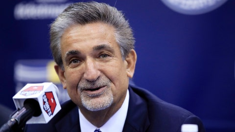 <p>               FILE- In this Aug. 4, 2017, file photo, Washington Wizards majority owner Ted Leonsis speaks during an NBA basketball news conference in Washington. Leonsis doesn't gamble, but sports betting, and how to cash in on it, remains the hot off-court topic in the NBA. (AP Photo/Manuel Balce Ceneta, File)             </p>