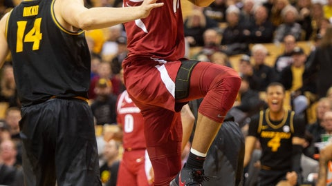 <p>               Arkansas's Daniel Gafford, right, shoots past Missouri's Reed Nikko, left, during the first half of an NCAA college basketball game Tuesday, Feb. 12, 2019, in Columbia, Mo. (AP Photo/L.G. Patterson)             </p>