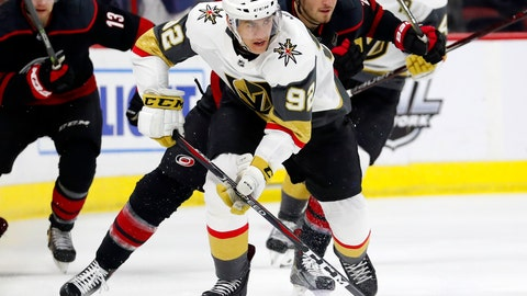 <p>               Vegas Golden Knights' Tomas Nosek (92) sakes with the puck after taking it from Carolina Hurricanes' Brett Pesce (22) during the first period of an NHL hockey game Friday, Feb. 1, 2019, in Raleigh, N.C. (AP Photo/Karl B DeBlaker)             </p>