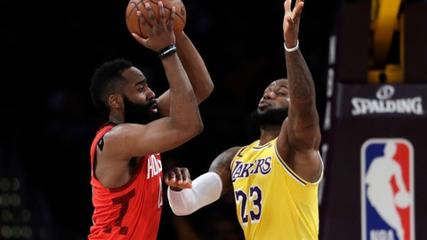 <p>               Houston Rockets' James Harden, left, passes the ball next to Los Angeles Lakers' LeBron James during the first half of an NBA basketball game Thursday, Feb. 21, 2019, in Los Angeles. (AP Photo/Marcio Jose Sanchez)             </p>