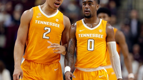 <p>               Tennessee forward Grant Williams (2) and guard Jordan Bone (0) talk as they head to the free throw line after a foul during the first half of an NCAA college basketball game against Texas A&M, Saturday, Feb. 2, 2019, in College Station, Texas. (AP Photo/Michael Wyke)             </p>