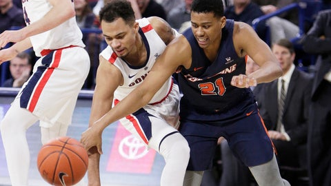 <p>               Gonzaga guard Geno Crandall, left, and Pepperdine guard Eric Cooper Jr. go after the ball during the second half of an NCAA college basketball game in Spokane, Wash., Thursday, Feb. 21, 2019. (AP Photo/Young Kwak)             </p>