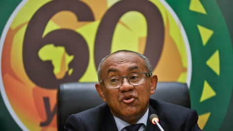 """<p>               FILE - In this Thursday, March 16, 2017 file photo, new president of the African soccer confederation Ahmad of Madagascar speaks at a press conference after being chosen at the general assembly of the Confederation of African Football (CAF) in Addis Ababa, Ethiopia. Musa Bility, a Liberian member of the Confederation of African Football executive committee, has quit two other senior positions in a protest against Ahmad taking the governing in the """"wrong direction"""" two years into his presidency. (AP Photo/File)             </p>"""