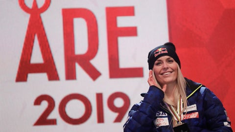 <p>               Third placed United States' Lindsey Vonn poses during the medal ceremony for the women's downhill race at the alpine ski World Championships in Are, Sweden, Sunday, Feb.10, 2019. (AP Photo/Gabriele Facciotti)             </p>