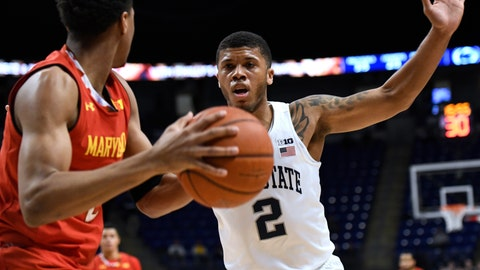 <p>               Penn State guard Myles Dread, right, defends Maryland guard Aaron Wiggins, left, during the first half of an NCAA college basketball game Wednesday, Feb. 27, 2019, in State College, Pa. (AP Photo/John Beale)             </p>