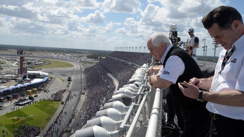 <p>               FILE - In this Feb. 22, 2015, file photo, team owner Roger Penske, second from right, watches from the roof of the front grandstands before the Daytona 500 NASCAR Cup Series auto race at Daytona International Speedway in Daytona Beach, Fla. Penske's drivers swept all the races at Indianapolis Motor Speedway and his reward has been induction into the NASCAR Hall of Fame. Penske will be honored Friday night along with Jeff Gordon, deceased drivers Davey Allison and Alan Kulwicki and fellow team owner Jack Roush. (AP Photo/Phelan M. Ebenhack, File)             </p>