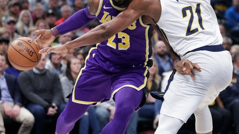 <p>               Los Angeles Lakers forward LeBron James (23) drives on Indiana Pacers forward Thaddeus Young (21) during the first half of an NBA basketball game in Indianapolis, Tuesday, Feb. 5, 2019. (AP Photo/Michael Conroy)             </p>