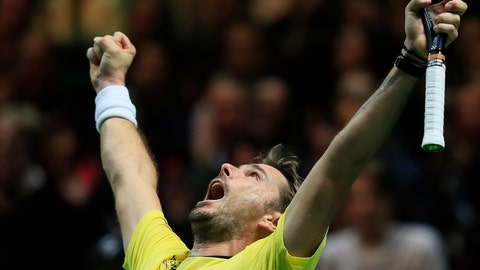 <p>               Stan Wawrinka of Switzerland celebrates winning against Kei Nishikori of Japan in three sets 6-2, 4-6, 6-4, in the semi-finals of the ABN AMRO world tennis tournament at Ahoy Arena in Rotterdam, Netherlands, Saturday, Feb. 16, 2019. (AP Photo/Peter Dejong)             </p>