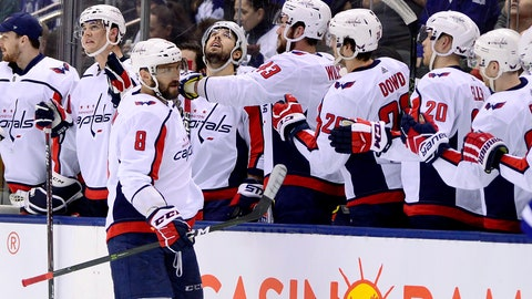 <p>               Washington Capitals left wing Alex Ovechkin (8) celebrates his goal with teammates on the bench during second-period NHL hockey game action against the Toronto Maple Leafs in Toronto, Thursday, Feb. 21, 2019. (Frank Gunn/The Canadian Press via AP)             </p>