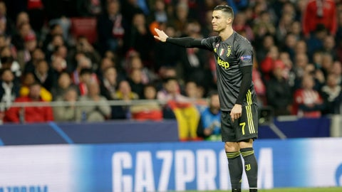 <p>               Juventus forward Cristiano Ronaldo reacts during the Champions League round of 16 first leg soccer match between Atletico Madrid and Juventus at Wanda Metropolitano stadium in Madrid, Wednesday, Feb. 20, 2019. (AP Photo/Andrea Comas)             </p>