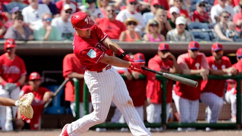 <p>               Philadelphia Phillies' J.T. Realmuto flies out in the fourth inning during a spring training baseball game against the Pittsburgh Pirates, Saturday, Feb. 23, 2019, in Clearwater, Fla. (AP Photo/Lynne Sladky)             </p>