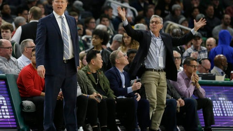 <p>               Milwaukee Bucks head coach Mike Budenholzer, left, reacts during the first half of an NBA basketball game against the Washington Wizards Wednesday, Feb. 6, 2019, in Milwaukee. (AP Photo/Aaron Gash)             </p>