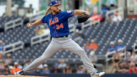 <p>               New York Mets starting pitcher Noah Syndergaard throws during the first inning of an exhibition spring training baseball game against the Houston Astros Monday, Feb. 25, 2019, in West Palm Beach, Fla. (AP Photo/Jeff Roberson)             </p>