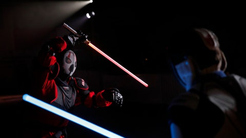 "<p>               In this Sunday, Feb. 10, 2019, photo, Julien Esprit, left, competes with Jean Baptiste Marchetti-Waternaux during a national lightsaber tournament in Beaumont-sur-Oise, north of Paris. In France, it is easier than ever now to act out ""Star Wars"" fantasies. The fencing federation has officially recognized lightsaber dueling as a competitive sport. (AP Photo/Christophe Ena)             </p>"