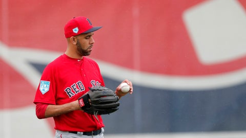 <p>               Boston Red Sox starting pitcher David Price looks at a ball as he warms up at the team's spring training baseball facility in Ft. Myers, Fla., Wednesday, Feb. 13, 2019. (AP Photo/Gerald Herbert)             </p>