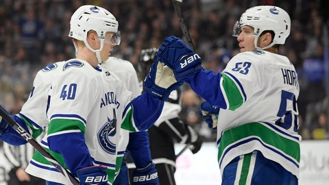 <p>               Vancouver Canucks center Elias Pettersson, left, celebrates his goals with center Bo Horvat during the first period of an NHL hockey game against the Los Angeles Kings Thursday, Feb. 14, 2019, in Los Angeles. (AP Photo/Mark J. Terrill)             </p>