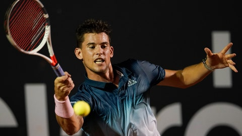 <p>               Austria's Dominic Thiem returns the ball to Serbia's Laslo Djere at the Rio Open tennis tournament in Rio de Janeiro, Brazil, Tuesday, Feb. 19, 2019. (AP Photo/Leo Correa)             </p>