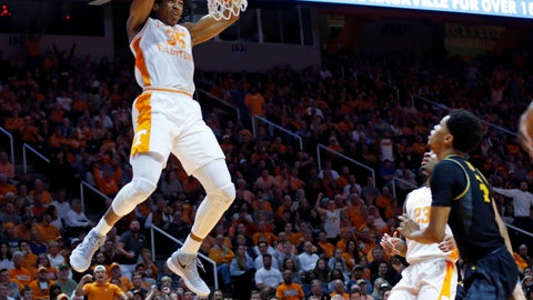 <p>               Tennessee forward Yves Pons (35) dunks the ball during the first half of an NCAA college basketball game against Missouri Tuesday, Feb. 5, 2019, in Knoxville, Tenn. (AP photo/Wade Payne)             </p>