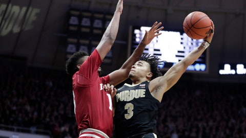 <p>               File-This Jan. 19, 2019, file photo shows Purdue guard Carsen Edwards (3) shooting over Indiana forward Juwan Morgan (13) during the second half of an NCAA college basketball game in West Lafayette, Ind. Edwards, a junior and preseason AP All-American listed at 6-0 on the NCAA leaderboard but 6-1 by the school, is seventh, national scoring at 24.6 points per game. (AP Photo/Michael Conroy, File)             </p>