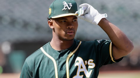 <p>               FILE - In this June 15, 2018, file photo, Oakland Athletics draft pick Kyler Murray looks on before a baseball game between the Athletics and the Los Angeles Angels, in Oakland, Calif. Murray's locker remained empty on Monday, Feb. 11, 2019, in the spring training clubhouse of the Oakland Athletics, who say they are uncertain when or if the Heisman Trophy winner will report to the baseball team he signed with last summer. Billy Beane, Oakland's executive vice president of baseball operation, said talks are continuing with Murray, who may drop baseball to pursue an NFL career. (AP Photo/Jeff Chiu, File)             </p>