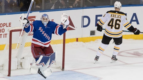 <p>               New York Rangers goaltender Alexandar Georgiev reacts a save against against Boston Bruins center David Krejci (46) during the shootout in an NHL hockey game Wednesday, Feb. 6, 2019, at Madison Square Garden in New York. The Rangers won 4-3. (AP Photo/Mary Altaffer)             </p>