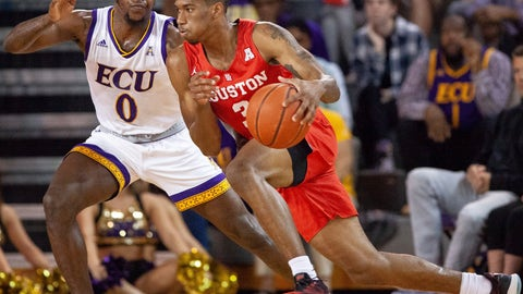 <p>               Houston's Armoni Brooks (3) handles the ball as East Carolina's Isaac Fleming (0) defends during the first half of an NCAA college basketball game in Greenville, N.C., Wednesday, Feb. 27, 2019. (AP Photo/Ben McKeown)             </p>