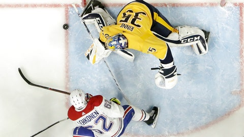 <p>               Nashville Predators goaltender Pekka Rinne (35), of Finland, blocks a shot by Montreal Canadiens left wing Artturi Lehkonen (62), of Finland, in the second period of an NHL hockey game Thursday, Feb. 14, 2019, in Nashville, Tenn. (AP Photo/Mark Humphrey)             </p>