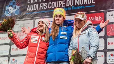 <p>               Women Downhill winners pose on the podium, with from left, second placed Joana Haehlen of Switzerland, winner Sofia Goggia of Italy and third placed Lara Gut-Behrami of Switzerland, celebrate during the winner's ceremony after the women's Downhill race of the FIS Alpine Ski World Cup season in Crans-Montana, Switzerland, Saturday, Feb. 23, 2019.  The results were corrected after problems with timekeeping, promoting Gut-Behrami from fourth to third place. (Jean-Christophe Bott/Keystone via AP)             </p>