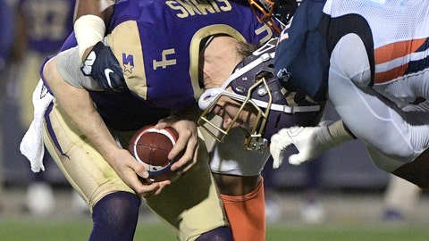 <p>               FILE - In this Feb. 9, 2019, file photo, Atlanta Legends quarterback Matt Simms (4) is sacked by Orlando Apollos linebacker Christian French (58) and Josh Banks Sr. (92) during the first half of an Alliance of American Football game, in Orlando, Fla. The new Alliance of American Football's Atlanta Legends are winless after three games and struggling to establish their offense behind quarterback Matt Simms after the unexpected exits of coach Brad Childress and offensive coordinator Micheal Vick before the season. (AP Photo/Phelan M. Ebenhack, File)             </p>