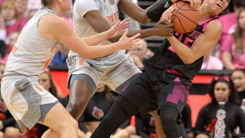 <p>               Louisville guard Asia Durr (25) battles Miami forward Khalia Prather (25), center, and guard Laura Cornelius (1) for the ball during the first half of an NCAA college basketball game in Louisville, Ky., Sunday, Feb. 17, 2019. (AP Photo/Timothy D. Easley)             </p>
