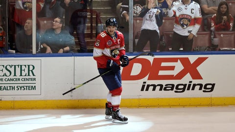 <p>               Florida Panthers center Aleksander Barkov celebrates after scoring against the Buffalo Sabres during the third period of an NHL hockey game Tuesday, Feb. 19, 2019, in Sunrise, Fla. (AP Photo/Brynn Anderson)             </p>