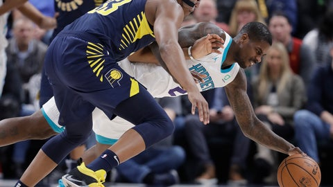 <p>               Indiana Pacers' Myles Turner, left, and Charlotte Hornets' Marvin Williams, right, battle for a loose ball during the first half of an NBA basketball game, Monday, Feb. 11, 2019, in Indianapolis. (AP Photo/Darron Cummings)             </p>