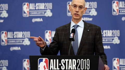 <p>               NBA Commissioner Adam Silver speaks during the NBA All-Star festivities, Saturday, Feb. 16, 2019, in Charlotte, N.C. The 68th All-Star game will be played Sunday. (AP Photo/Gerry Broome)             </p>