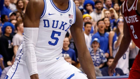 <p>               Duke's RJ Barrett (5) celebrates after a score while North Carolina State's Torin Dorn (2) looks on during the second half of an NCAA college basketball game in Durham, N.C., Saturday, Feb. 16, 2019. (AP Photo/Chris Seward)             </p>