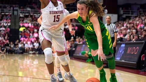 <p>               Oregon guard Sabrina Ionescu (20) moves the ball past Stanford forward Maya Dodson (15) during the second half of an NCAA college basketball game Sunday, Feb. 10, 2019, in Stanford, Calif. Oregon won 88-48. (AP Photo/Tony Avelar)             </p>