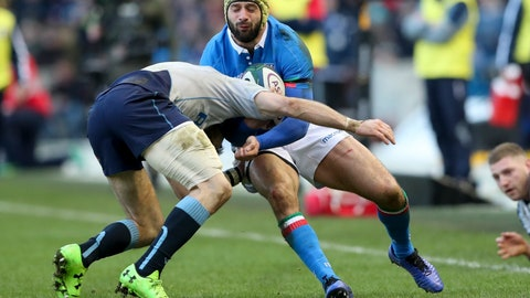 <p>               Scotland's Tommy Seymour, left, tackles Italy's Angelo Esposito during the Six Nations rugby union international between Scotland and Italy, at the Murrayfield Stadium in Edinburgh, Scotland, Saturday, Feb. 2, 2019. (AP Photo/Scott Heppell)             </p>