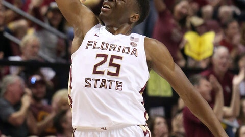 <p>               Florida State's Mfiondu Kabengele celebrates after hitting a three-point basket in the first half of an NCAA college basketball game against Louisville, Saturday, Feb. 9, 2019, in Tallahassee, Fla. (AP Photo/Steve Cannon)             </p>