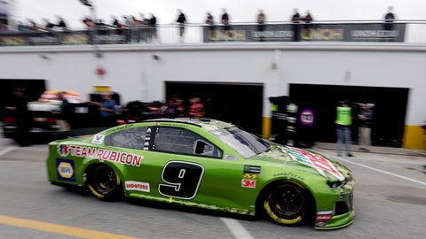 <p>               Chase Elliott (9) drives through the garage area during NASCAR auto race practice at Daytona International Speedway, Saturday, Feb. 9, 2019, in Daytona Beach, Fla. (AP Photo/John Raoux)             </p>