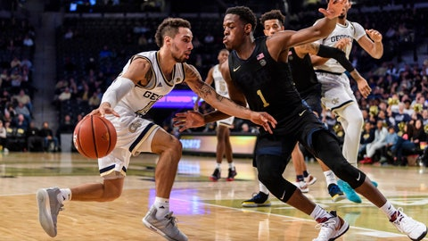 <p>               Georgia Tech guard Jose Alvarado (10) drives to the basket as Pittsburgh guard Xavier Johnson (1) defends during the first half of an NCAA college basketball game Wednesday, Feb. 20, 2019, in Atlanta. (AP Photo/Danny Karnik)             </p>